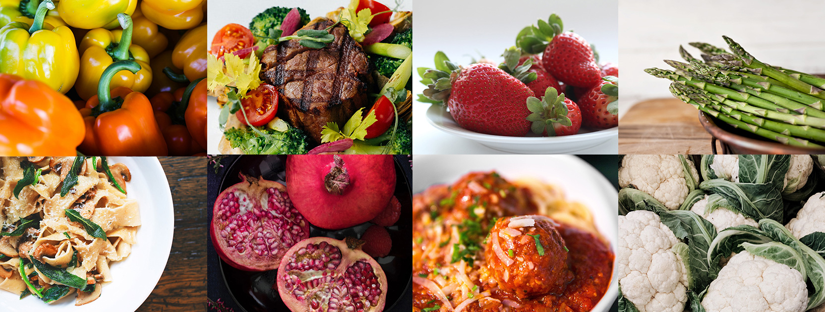 A collage of fresh produce, grilled steak, and pasta dishes.