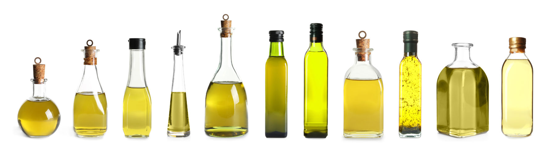 A row of olive oil bottles